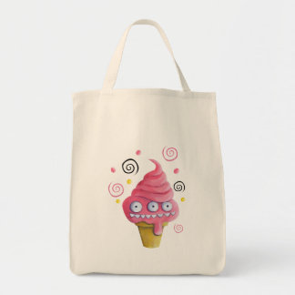 Pink Monster Ice Cream Cone Tote Bag