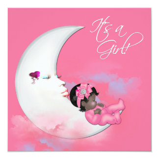 Pink Moon African American Baby Girl Shower Custom Invitations