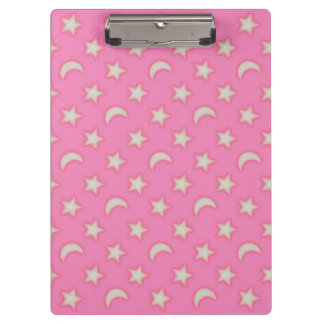 Pink moons and stars pattern clipboard