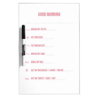 Pink Morning Routine Dry Erase Board