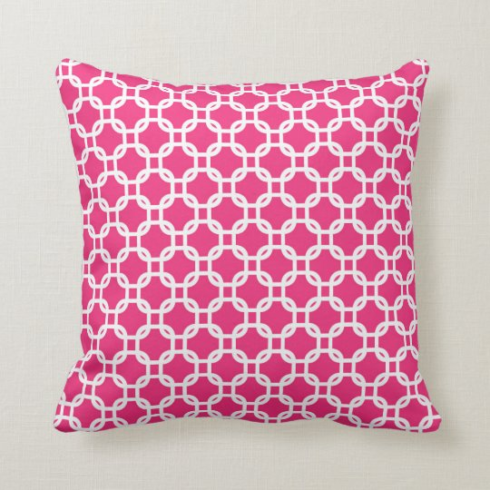 Pink Moroccan Geometric Design Throw Cushion