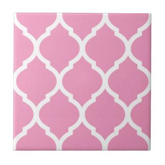 Pink Moroccan Quatrefoil Patterned Ceramic Tile