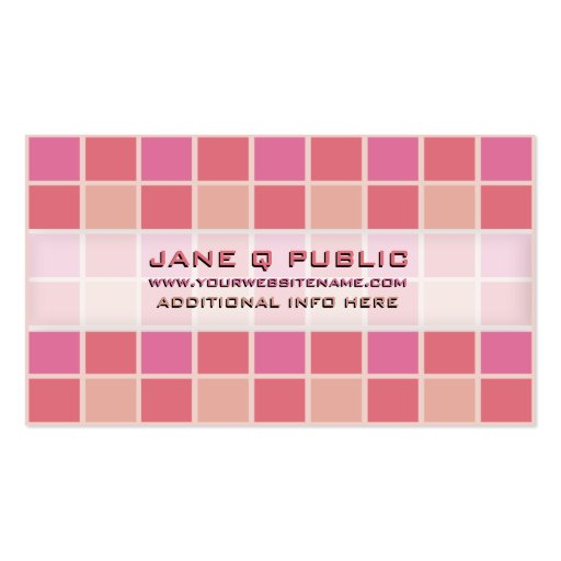 Pink Mosaic Grid Business Cards