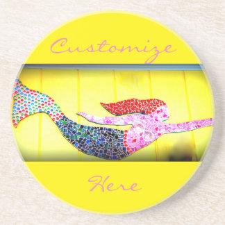 pink mosaic mermaid swimming coaster