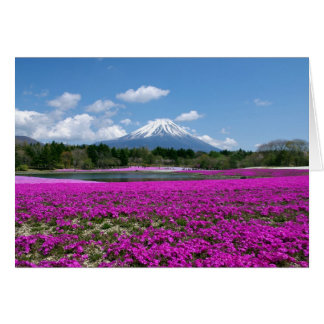 Pink moss and Mt. Fuji in the background Note Card