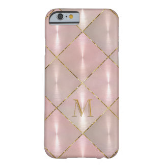 Pink Mother of Pearl with Gold Monogram Barely There iPhone 6 Case
