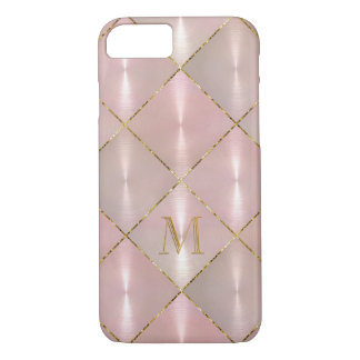 Pink Mother of Pearl with Gold Monogram iPhone 7 Case