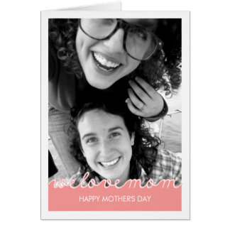Pink Mothers Day Photo Love Mom Cut Out Text Card