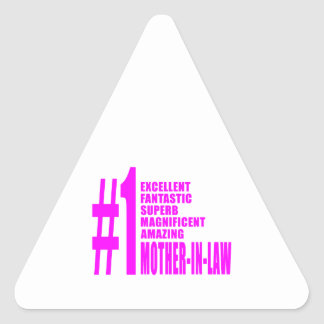 Pink Mothers in Law : Number One Mother in Law Triangle Stickers