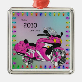 Pink Motorcycle in Stained Glass Christmas Ornament