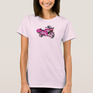 Pink Motorcycle in Stained Glass T-Shirt