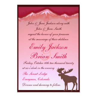 Pink mountain moose artistic wedding invitations