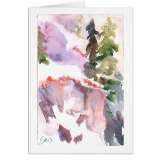 Pink mountain snowbank greeting card