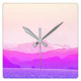 Pink Mountains Clock