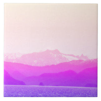 Pink Mountains Photo Tile