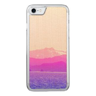 Pink Mountains Wood Phone Case