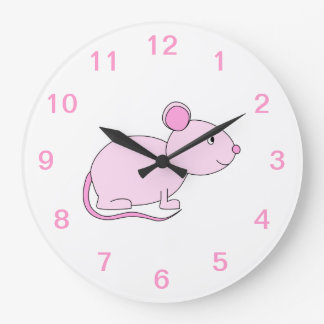 Pink Mouse. Large Clock