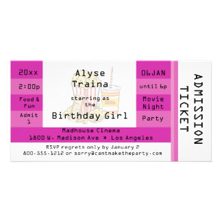 Pink Movie Night Party Admission Ticket Invite Customized Photo Card