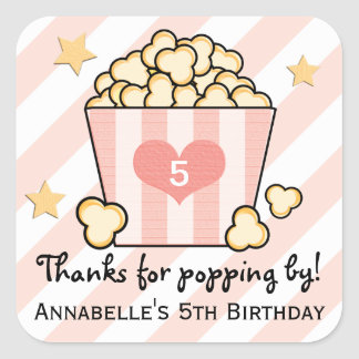 Pink Movie Popcorn Thank You Birthday Party Favor Square Sticker
