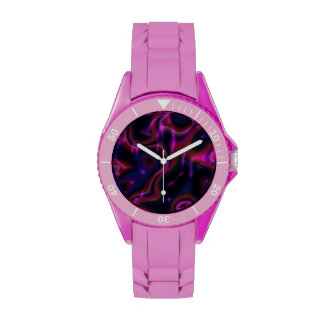 Pink multicolor swirls on black watch