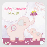 Pink Mum & Baby Elephants Baby Shower Stickers