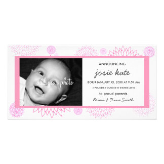 Pink Mum Blossoms Birth Announcement Photo Cards