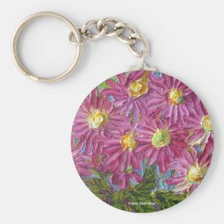 Pink Mums Basic Round Button Key Ring