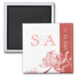 Pink Mums Floral Wedding Save the Date Magnet
