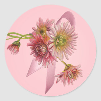 PINK MUMS & RIBBON by SHARON SHARPE Round Stickers