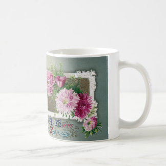 Pink Mums Vintage New Year Coffee Mug
