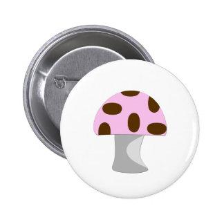 Pink Mushroom 6 Cm Round Badge