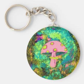 Pink Mushroom Key Ring