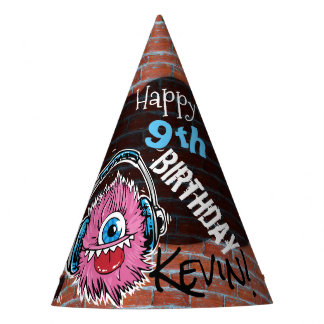 Pink Music Monster Graffiti Party Hat Personalized
