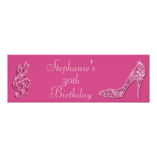 Pink Music Note and Stiletto 30th Birthday Poster