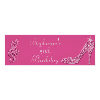 Pink Music Note and Stiletto 50th Birthday Poster