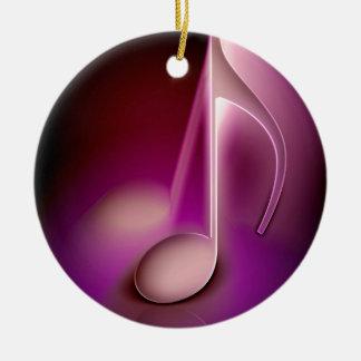 Pink music note round ceramic decoration