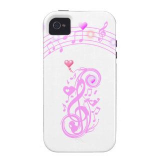 Pink,Music notes of Love_ Case For The iPhone 4