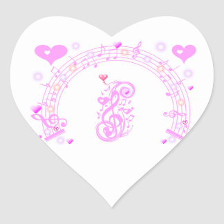 Pink,Music notes of Love_ Heart Sticker