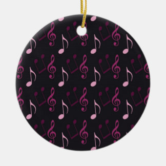 Pink Music Notes Round Ceramic Decoration