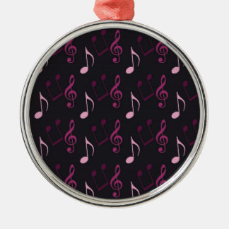 Pink Music Notes Silver-Colored Round Decoration