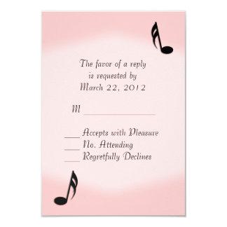 Pink Music Wedding RSVP 9 Cm X 13 Cm Invitation Card