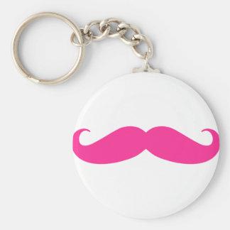 Pink Mustache Stache Design Basic Round Button Key Ring