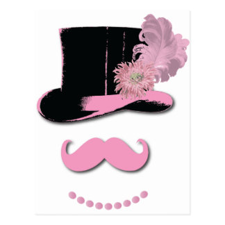 Pink mustache, top hat, feathers, and flower postcard
