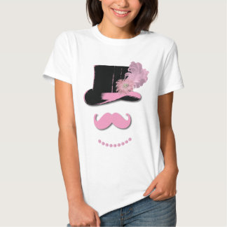Pink mustache, top hat, feathers, and flower shirt