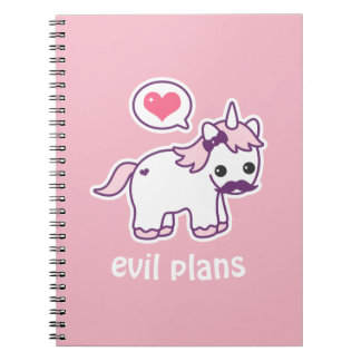 Pink Mustache Unicorn Notebooks