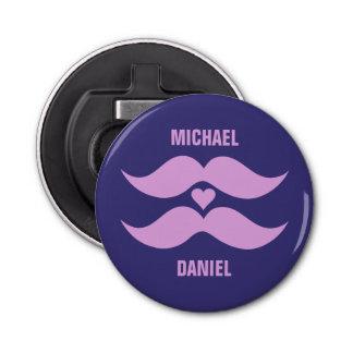 Pink Mustaches custom bottle opener