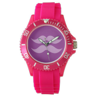 Pink Mustaches custom color watches