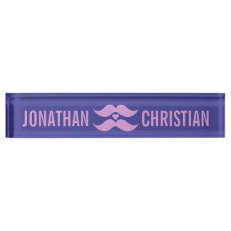 Pink Mustaches custom desk name plate