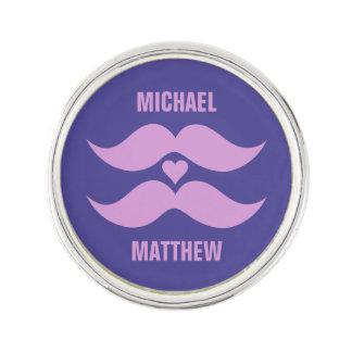 Pink Mustaches custom lapel pin