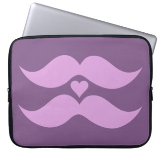 Pink Mustaches custom laptop sleeve